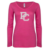 ENZA Ladies Hot Pink Long Sleeve V Neck Tee-PC White Glitter