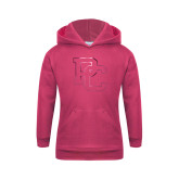 College Youth Raspberry Fleece Hoodie-PC Foil