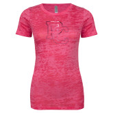 Next Level Ladies Junior Fit Fuchsia Burnout Tee-PC Foil
