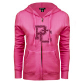 ENZA Ladies Fuchsia Fleece Full Zip Hoodie-PC Hot Pink Glitter
