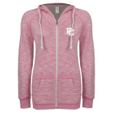 College ENZA Ladies Hot Pink Marled Full Zip Hoodie-PC