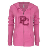 College ENZA Ladies Hot Pink Light Weight Fleece Full Zip Hoodie-PC Hot Pink Glitter