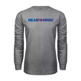 Grey Long Sleeve T Shirt-Blue Hose