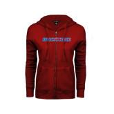 ENZA Ladies Cardinal Fleece Full Zip Hoodie-Blue Hose