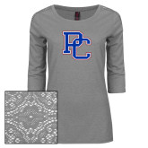 Ladies Grey Heather Tri Blend Lace 3/4 Sleeve Tee-PC