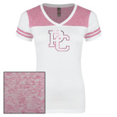 Ladies White/Bright Pink Juniors Varsity V Neck Tee-PC Foil