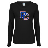 College Ladies Black Long Sleeve V Neck Tee-PC