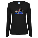 College Ladies Black Long Sleeve V Neck T Shirt-Mascot