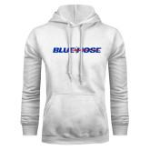 White Fleece Hood-Blue Hose