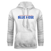 White Fleece Hood-Presbyterian College Blue Hose Stacked