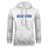 White Fleece Hood-Presbyterian College Blue Hose Stacked