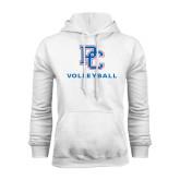 White Fleece Hood-Volleyball