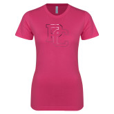 Ladies SoftStyle Junior Fitted Fuchsia Tee-PC Foil