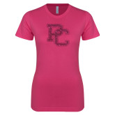 Ladies SoftStyle Junior Fitted Fuchsia Tee-PC Hot Pink Glitter