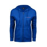ENZA Ladies Royal Fleece Full Zip Hoodie-Blue Hose