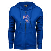 College ENZA Ladies Royal Fleece Full Zip Hoodie-Basketball