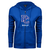 College ENZA Ladies Royal Fleece Full Zip Hoodie-Golf