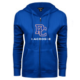 College ENZA Ladies Royal Fleece Full Zip Hoodie-Lacrosse