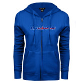 College ENZA Ladies Royal Fleece Full Zip Hoodie-Blue Hose