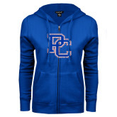 College ENZA Ladies Royal Fleece Full Zip Hoodie-PC Distressed