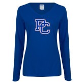 College Ladies Royal Long Sleeve V Neck Tee-PC