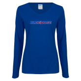 College Ladies Royal Long Sleeve V Neck Tee-Blue Hose