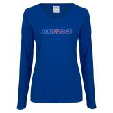Ladies Royal Long Sleeve V Neck T Shirt-Blue Hose