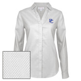 College Ladies Red House Diamond Dobby White Long Sleeve Shirt-PC