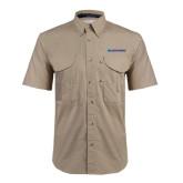 Khaki Short Sleeve Performance Fishing Shirt-Blue Hose