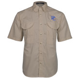 College Khaki Short Sleeve Performance Fishing Shirt-PC