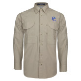 Khaki Long Sleeve Performance Fishing Shirt-PC