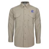 College Khaki Long Sleeve Performance Fishing Shirt-PC