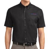 Black Twill Button Down Short Sleeve-Blue Hose