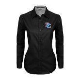 Ladies Black Twill Button Down Long Sleeve-PC