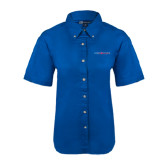 Ladies Royal Twill Button Down Short Sleeve-Blue Hose