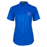 College Ladies Royal Twill Button Up Short Sleeve-PC