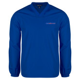 V Neck Royal Raglan Windshirt-Blue Hose