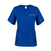 Ladies Royal Two Pocket V Neck Scrub Top-Blue Hose