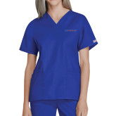 Presbyterian Ladies Royal Two Pocket V Neck Scrub Top-Blue Hose