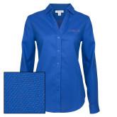 Ladies Red House Diamond Dobby Royal Long Sleeve Shirt-Blue Hose