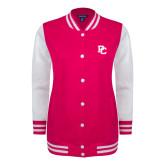 College Ladies Pink Raspberry/White Fleece Letterman Jacket-PC