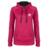 Ladies Pink Raspberry Tech Fleece Hooded Sweatshirt-PC