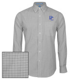 College Mens Charcoal Plaid Pattern Long Sleeve Shirt-PC
