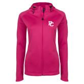 Ladies Tech Fleece Full Zip Hot Pink Hooded Jacket-PC
