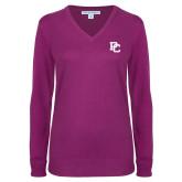 Ladies Deep Berry V Neck Sweater-PC