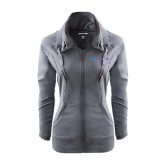 Ladies Sport Wick Stretch Full Zip Charcoal Jacket-Blue Hose