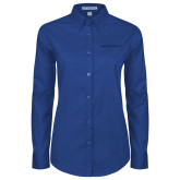 College Ladies Royal Twill Button Down Long Sleeve-Blue Hose Tone