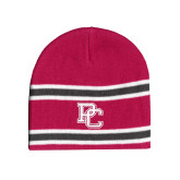 College Pink/Charcoal/White Striped Knit Beanie-PC