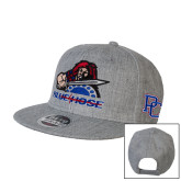 College Heather Grey Wool Blend Flat Bill Snapback Hat-Mascot