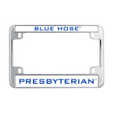 Metal Motorcycle License Plate Frame in Chrome-Blue Hose